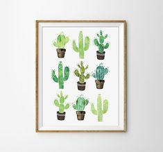 Cactus Print, Succulent Poster, Watercolor Cactus, Modern office Print, Watercolor Poster, Nature Print, Bedroom Poster, Flower Print