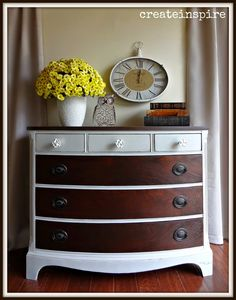createinspire: Dresser in Light French Gray w/ Wood Drawers