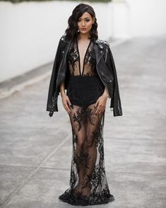micah gianneli - A little risqué in leather & lace ❁❋❁ Dress from News Fashion, Runway Fashion, Fashion Beauty, Girl Fashion, Fashion Outfits, Womens Fashion, Fashion Design, Leather And Lace, Micah Gianneli