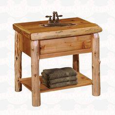 Fireside Lodge Furniture Cedar Open Shelf Vanity without Top #bathroomfurniture #rusticfurniture #rustic    http://www.santaferanch.com/