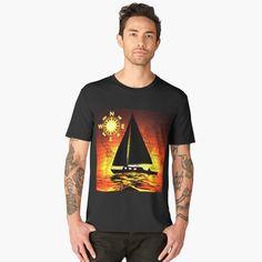 Gahr Graphics Products--Sunset Voyage Men's Premium T-shirt.  #Redbubble #GahrGraphics #SunsetVoyage #Ocean #Sea #Sailing #Sailor #Sailboat #OriginalGift #Gift #Art #Artwork #Tshirt #Apparel #Clothing #MensFashion #Fashion