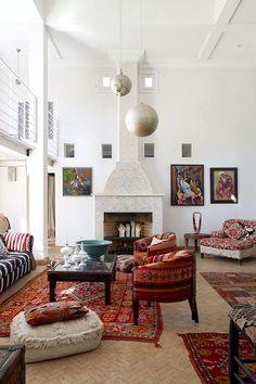 Moroccan Design - Maryam Montague's Home - Living Room Design Ideas… Modern Moroccan Decor, Moroccan Decor Living Room, Morrocan Decor, Moroccan Interiors, Moroccan Design, Living Room Interior, Home Living Room, Living Room Furniture, Living Room Designs