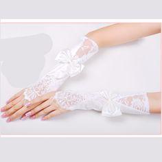 White Lace Satin Fingerless Long Wedding Bridal Dress Gloves Women SKU-11201019