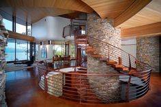 Wisconsin Home. Robert Harvey Oshatz, Architect. Large Cylinder, which houses an elevator and has spiral staircase wrapped around it, Dominates the Entire Home.