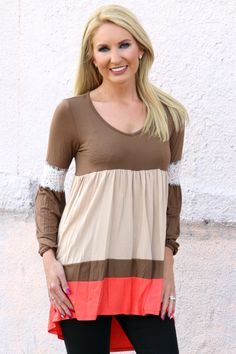 One Faith Boutique - Beginning Of Fall Color Block Tunic With Lace Accents ~ Coffee ~ Sizes 4-10, $36.00 (http://www.onefaithboutique.com/new-arrivals/beginning-of-fall-color-block-tunic-with-lace-accents-coffee-sizes-4-10/)