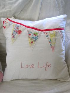 Shabby and Chic Vintage Quilt Banner Pillow Love by theopenwindows. via Etsy.
