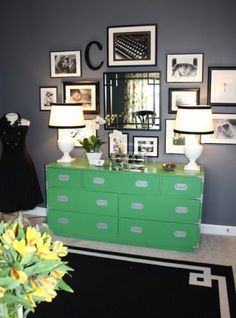 Gallery wall, great photo/pic arrangement, love the green with the grey neutral!