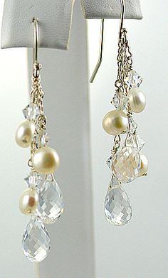 Pearls & White Topaz, Sterling Silver