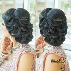 Indian Bridal Hair and Accessories images from the web Arabic Hairstyles, Half Updo Hairstyles, Indian Bridal Hairstyles, Bride Hairstyles, Bridal Hair Buns, Bridal Hairdo, Bridal Hair And Makeup, Wedding Updo, Old Hollywood Hair
