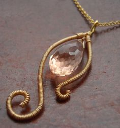 Apricot  Wire Wrapped Glass Briolette Necklace by jewelparadise, $16.00