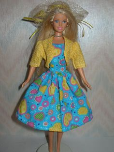 DIY Barbie Doll Stuff   Handmade Barbie clothes - blue print dress, yellow jacket and hat