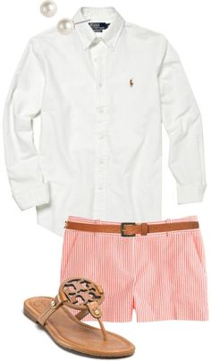 on-a-seaside-state-of-mind:  Seersucker  Tory by classically-preppy featuring post earrings ❤ liked on PolyvorePolo Ralph Lauren white oxford shirt / Tory Burch , $245 / Givenchy post earrings / Topshop
