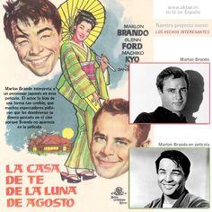 """Marlon Brando interpreta a un personaje japonés en la película """"La casa de té de la luna de Agosto"""" (The Teahouse of the August Moon, 1956). El actor lo hizo de una forma tan creíble, que muchos espectadores pidieron que les devolvieran su dinero gastado en el cine porque Brando no aparecía en la película."""