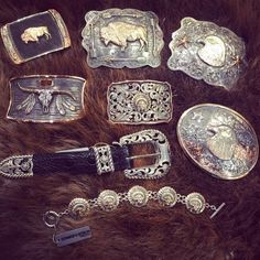 Stunning belt buckles by The Bohlin Company. Handmade in Dallas, Texas. Sterling Silver, Rose Gold, Yellow Gold, Green Gold, Rubies, Saphires, and Diamonds. #kemosabe #western Western Belt Buckles, Western Belts, Cowboy Western, Silver Work, Dallas Texas, Show Horses, Gold Accents, Green And Gold, Ranger