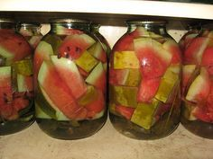 You think Sugar on Strawberries in Milk is Barbaric? What you want to say about pickled watermelons? Watermelon Pickles, Preserves, Strawberry, Milk, Cooking Recipes, Canning, Salads, Preserve, Chef Recipes