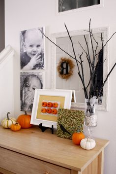 fall set up, twigs, pumpkins, complete with a bird seed tile.