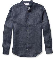 Ami Linen Chambray Band Collar Shirt