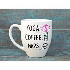 Yoga Mug Coffee Mug Yoga Coffee Naps Namaste Funny Mug Large Mug ($17) ❤ liked on Polyvore featuring home, kitchen & dining, drinkware, drink & barware, grey, home & living, mugs, bistro coffee mugs, coffee mugs and handpainted wine glasses