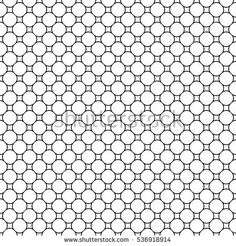 Vector monochrome seamless pattern, simple geometric figures, circles & rhombuses. Illustration of mesh, lattice. Black & white repeat texture, abstract background. Design for prints, decoration, web