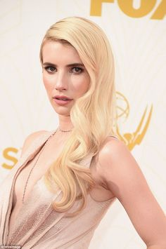 2015 Emmy Red Carpet - Emma Roberts dress was exquisite, the fabric is so beautiful.