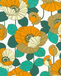 teal and tangerine poppies - color inspiration for fence mural and/or invitation. Retro Pattern, Pattern Art, Textile Patterns, Print Patterns, Poppy Pattern, Illustration Blume, Retro Fabric, Motif Floral, Floral Fabric