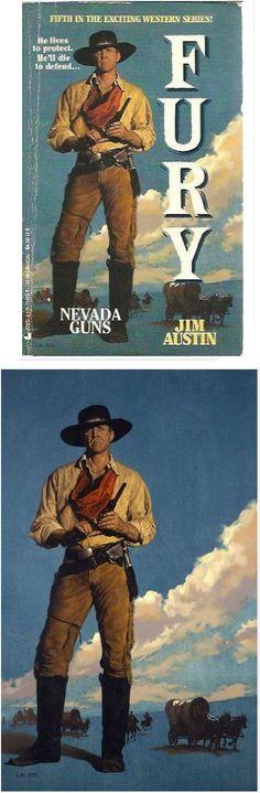 GLEN ORBIK - Fury Book #5 Nevada Guns by Jim Austin - 1995 Jove Books - cover by abebooks - print by orbikart