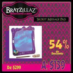 ¿Te imaginas la Secret Message Pad de Bratzillaz en sólo $139.00 pesos? ¡Así es! Realiza tu compra a través de nuestra tienda en línea #Kichink y déjate hechizar por todos los descuentos que tenemos para ti: http://bit.ly/QJerbO