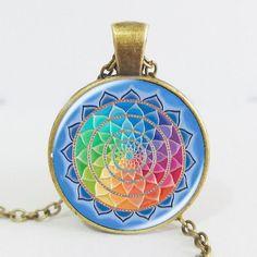 Handmade Rainbow Flower Of Life Mandala Necklace