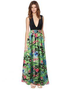 Women Fashion Casual Sexy Deep V Neck Sleeveless Elastic High Waist Floral Patchwork Stretch Maxi Long Dress