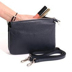 Italian Leather Cross Body Bag with 3 Compartments. Everyday Activities, Italian Leather, Evening Bags, Leather Crossbody Bag, Cross Body, Shoulder Strap, Navy Blue, Purses, My Style