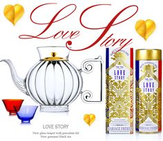 """Hand blown glass teapot - gourmet black tea,"""" Love Story"""". From: Mariage Freres"""