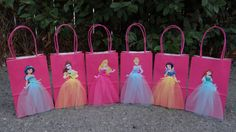 Disney Princesses… theme party favor bags!!!    this listing includes 6 favor bags.  1 of each princess. if you need more bags or specific