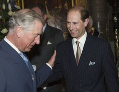 Prince Charles, Prince of Wales congratulates his brother Prince Edward, Earl of Wessex who reached his 50th Birthday today as they attend the Commonwealth day observance service at Westminster Abbey on March 10, 2014 in London, England.