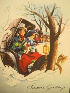 1950's Vintage Christmas Greeting Card USA Old Fashioned Car Driving Presents