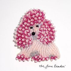 etsy poodle jewelry | Pale Pink Delica Beaded MINIATURE POODLE pin by thelonebeader, $75.00