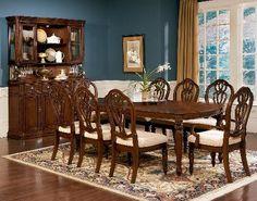 Terrassa 9 Piece Dining Set in Chestnut Cherry Wynwood Furniture, Dining Table In Kitchen, Beautiful Dining Rooms, Dining Furniture, Furniture, Dining Table Setting, White Paneling, Dining Table, Dining Room Sets