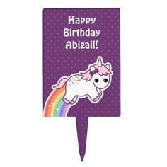Cute Unicorn Birthday Cake Topper