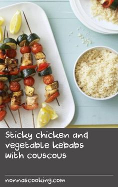 Sticky chicken and vegetable kebabs with couscous |      These sticky kebabs are a real treat and full of tasty veggies to get you on your way to five a day. Serve with couscous for a special supper on a budget. Each serving provides 594kcal, 41g protein, 72g carbohydrate (of which 17g sugars), 14g fat (of which 2g saturates), 6.5g fibre and1.4g salt.Try the Eat Well for Less quiz to find out how you could cut your food bills. (For this recipe you will need 10 skewers to make the kebabs. Or…