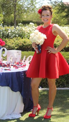 This bride's style has a 1950's influence with the playful scuba flare and elegant appliqué in a ravishing red hue. Together the pearl jewelry inspires a traditional feel and the rounded toe t-strap with the cute bow perfectly compliments the bride's wedding dress! Bride styled by IMPRINT Lifestyle Concierge.