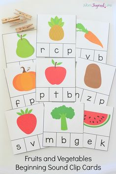 Fruits and vegetables beginning sound clip cards that teach letters and letter sounds. These are a great way to teach healthy eating habits as well.