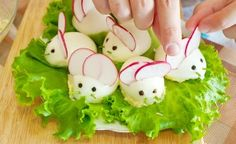 From: www.myfudo.com How to Assemble the Easter Bunny Stuffed Eggs: Cut one small radish to use as the ears, you can use peppercorns as the eyes, and either sesame as the whiskers, get creative and have fun!