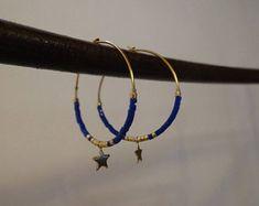 Boucles d'oreilles créoles plaqué or et perles miyuki