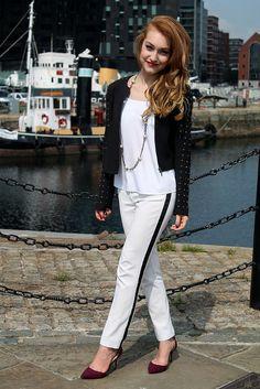 Monochrome outfit, fashion, zara heels, River island trousers, Mango, Stud jacket