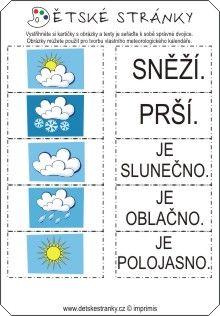 Počasí - kartičky Weather Seasons, Elementary Science, Montessori, Homeschool, Language, Classroom, Teaching, Activities, Children