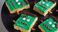 Get monstrous on Halloween with this recipe! Crispy rice cereal, marshmallows and Betty Crocker® chocolate frosting come together to make a frightfully fun and tasty dessert.