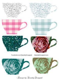 Lots of free printable tea cups!!