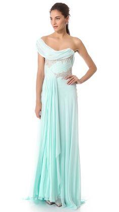 Шифоновое вечернее платье в греческом стиле. Marchesa - SHOPBOP