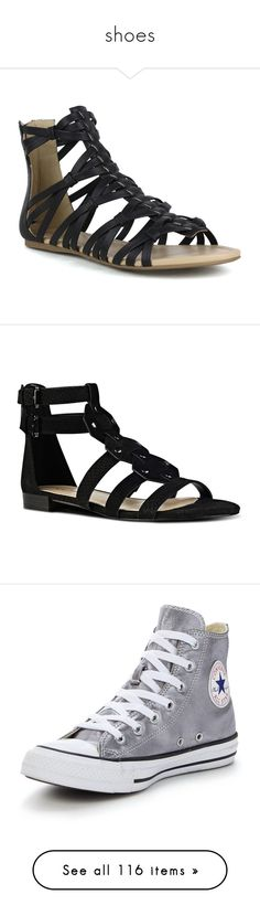 """shoes"" by the-daily-crafts ❤ liked on Polyvore featuring shoes, sandals, black, flat sandals, black flat shoes, summer sandals, roman gladiator sandals, black sandals, black suede and black gladiator sandals"