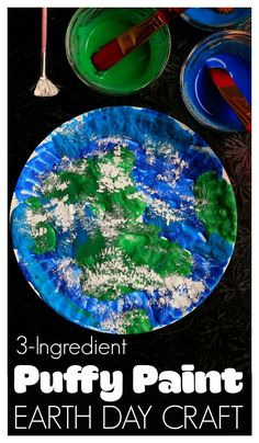 Easy Earth Day craft for toddlers and preschoolers made with easy Puffy Paint - Happy Hooligans Summer Crafts For Toddlers, Easy Crafts For Kids, Toddler Crafts, Art For Kids, Earth Day Activities, Spring Activities, Craft Activities, Space Activities, Painting Activities