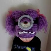 Halloween Purple Evil Minion Hat, Beanie pattern by Cathy Ren Minion Halloween, Halloween Hats, Halloween Ideas, Minion Pattern, Beanie Pattern, Loom Hats, Girl Minion, Minion Hats, Monster Hat